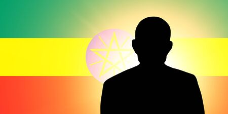The Ethiopia flag and the silhouette of an unknown man photo