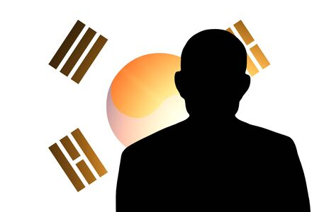 unnamed: The South Korea flag and the silhouette of an unknown man