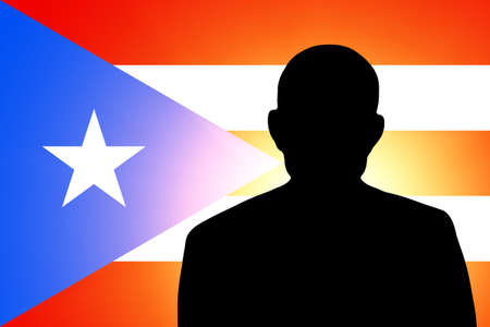 unnamed: The Puerto Rico flag and the silhouette of an unknown man and the silhouette of an unknown man Stock Photo