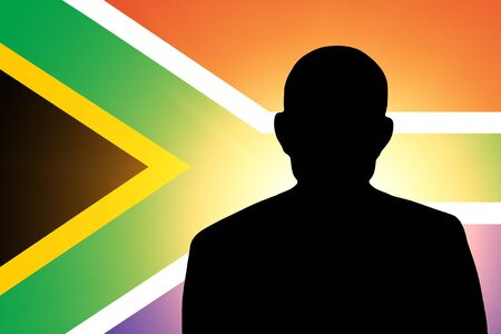 unnamed: The South African Republic flag and the silhouette of an unknown man