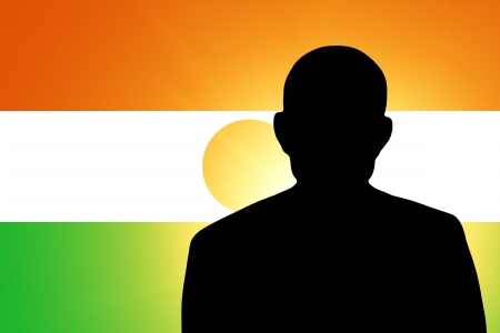 unnamed: The Niger flag and the silhouette of an unknown man and the silhouette of an unknown man