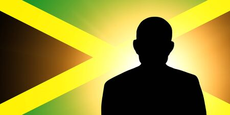 unnamed: The Jamaica flag and the silhouette of an unknown man Stock Photo