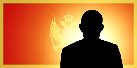 The Montenegro flag and the silhouette of an unknown man and the silhouette of an unknown man Stock Photo - 15943390
