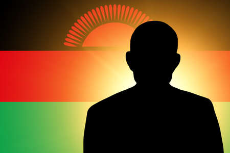 unnamed: The Malawi flag and the silhouette of an unknown man