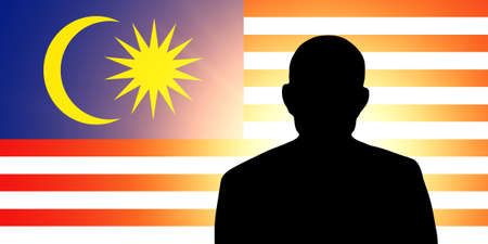 unnamed: The Malaysia flag and the silhouette of an unknown man