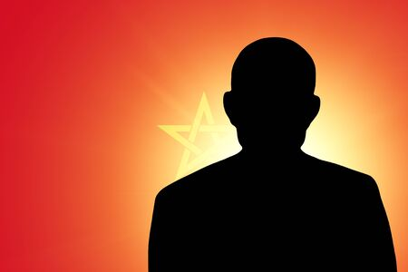 unnamed: The Moroccan flag and the silhouette of an unknown man Stock Photo