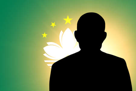 unnamed: The Macau flag and the silhouette of an unknown man Stock Photo