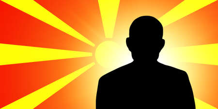 unnamed: The Macedonia flag and the silhouette of an unknown man Stock Photo