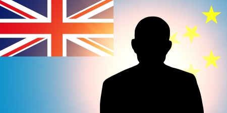 The Tuvalu flag and the silhouette of an unknown man photo
