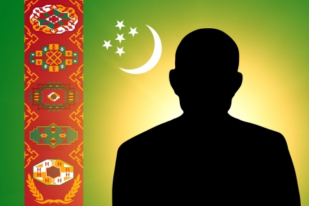 unnamed: The Turkmen flag and the silhouette of an unknown man