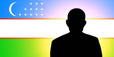 unnamed: The Uzbek flag and the silhouette of an unknown man