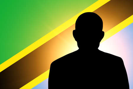 pretender: The Tanzania flag and the silhouette of an unknown man