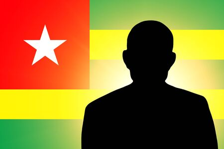 unnamed: The Togo flag and the silhouette of an unknown man