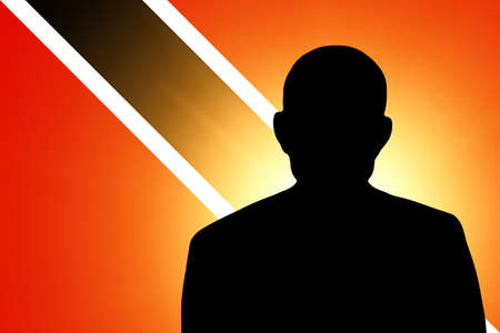 unnamed: The Trinidad and Tobago flag and the silhouette of an unknown man Stock Photo