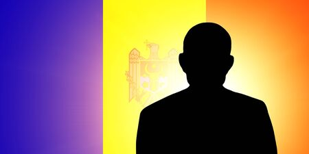 moldovan: The Moldovan flag and the silhouette of an unknown man Stock Photo