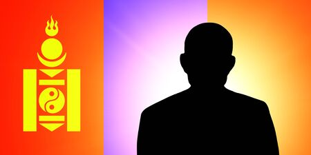 unnamed: The Mongolian flag and the silhouette of an unknown man Stock Photo
