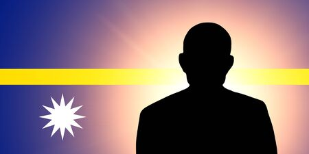 unnamed: The Nauru flag and the silhouette of an unknown man