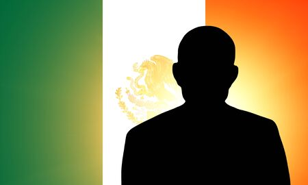The Mexican flag and the silhouette of an unknown man Stock Photo - 15943504