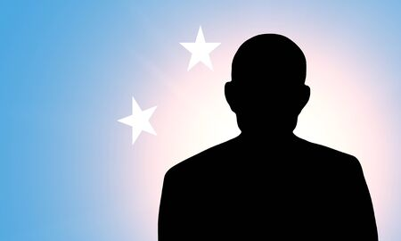 The Micronesia flag and the silhouette of an unknown man Stock Photo - 15943543