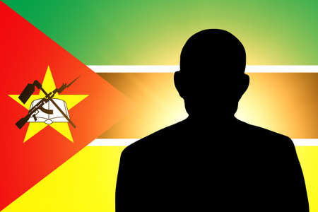 The Mozambique flag and the silhouette of an unknown man photo