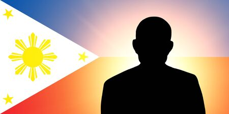 unnamed: The Philippines flag and the silhouette of an unknown man
