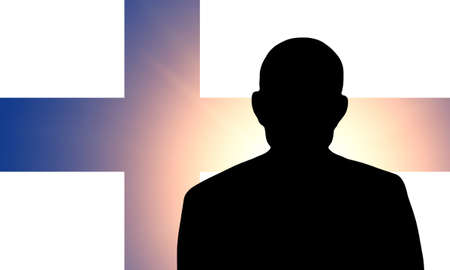 finnish: The Finnish flag and the silhouette of an unknown man Stock Photo
