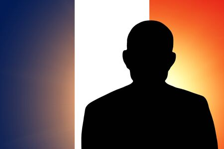 unnamed: The French flag and the silhouette of an unknown man