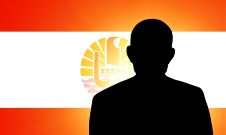 The French polynesia flag and the silhouette of an unknown man Stock Photo - 15943349