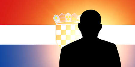 unnamed: The Croatian flag and the silhouette of an unknown man Stock Photo