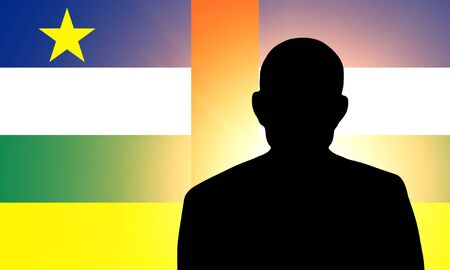 unnamed: The Central African Republic flag and the silhouette of an unknown man