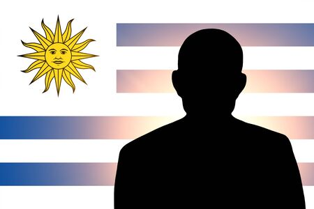 unnamed: The Uruguayan flag and the silhouette of an unknown man