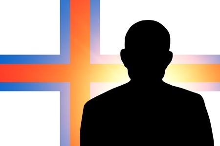 unnamed: The Faroe Islands flag and the silhouette of an unknown man