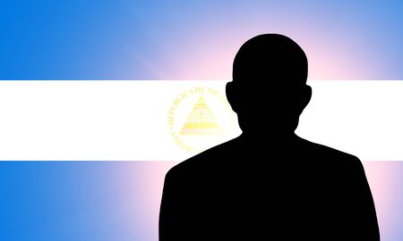 unnamed: The Nicaragua flag and the silhouette of an unknown man