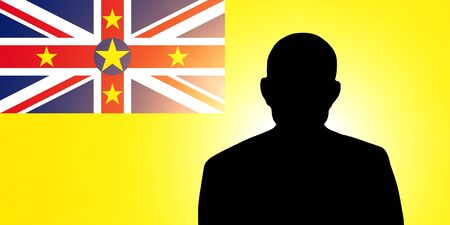 The Niuean flag and the silhouette of an unknown man photo