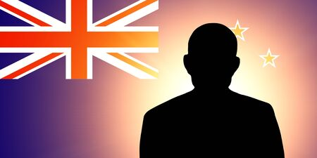 The New Zealand flag and the silhouette of an unknown man photo
