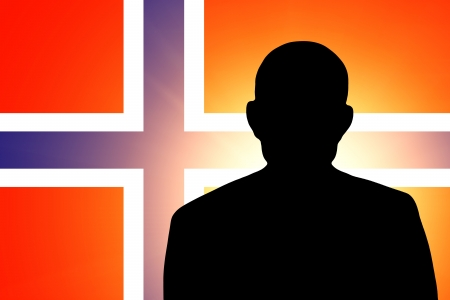 unnamed: The Norwegian flag and the silhouette of an unknown man