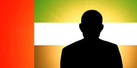 unnamed: The United Arab Emirates flag and the silhouette of an unknown man Stock Photo