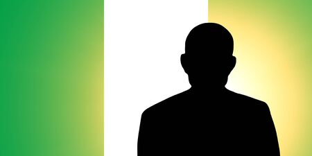 pretender: The Nigerian flag and the silhouette of an unknown man