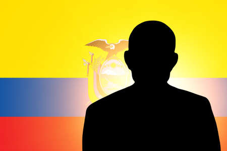 The Ecuador flag and the silhouette of an unknown man photo
