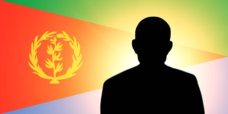 unnamed: The Eritrea flag and the silhouette of an unknown man