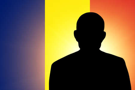 pretender: The Chad flag and the silhouette of an unknown man Stock Photo