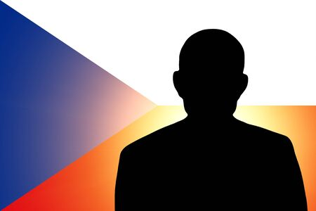 unnamed: The Czech flag and the silhouette of an unknown man