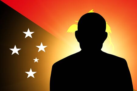 The Papua New Guinea flag and the silhouette of an unknown man photo