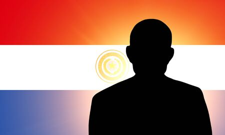 paraguayan: The Paraguayan flag and the silhouette of an unknown man Stock Photo