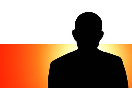 The Polish flag and the silhouette of an unknown man Stock Photo - 15943333