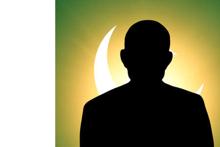 The Pakistani flag and the silhouette of an unknown man photo