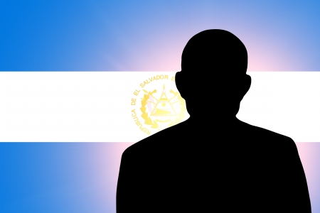 unnamed: The Salvador flag and the silhouette of an unknown man Stock Photo