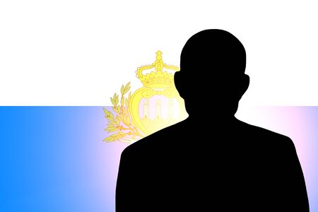 pretender: The San Marino flag and the silhouette of an unknown man