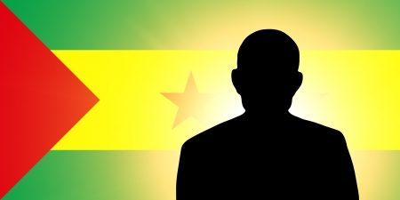 unnamed: The São Tomé and Príncipe flag and the silhouette of an unknown man Stock Photo