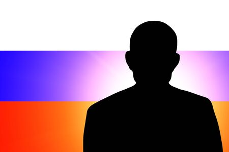 The Russian flag and the silhouette of an unknown man Stock Photo - 15943346